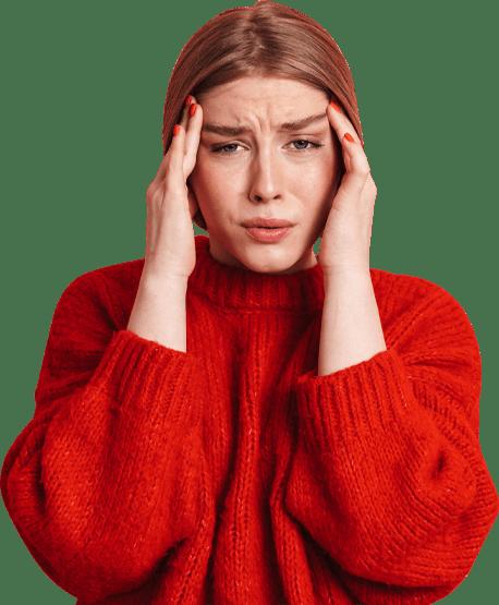 Girl suffering with headache